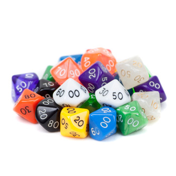 25 Pack of Random D10(00) Polyhedral Dice in Multiple Colors