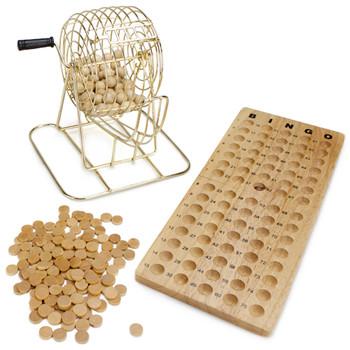 Vintage Wooden Bingo Game 6-Inch Brass Cage