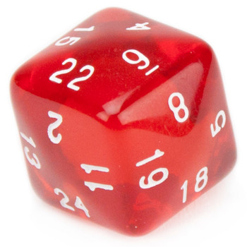 24 Sided Translucent Red with White Numbers Polyhedral Dice