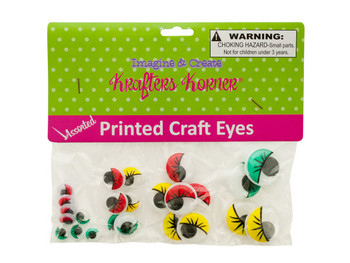 Colored Wiggly Printed Craft Eyes (pack of 25)