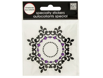 Black Icon Rhinestone Specialty Sticker (pack of 24)