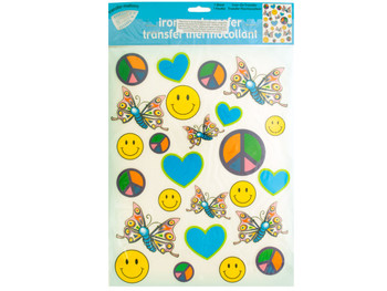 Iron-On Peace Love Joy Transfers (pack of 24)