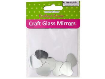 Mini Heart Shape Craft Glass Mirrors (pack of 18)