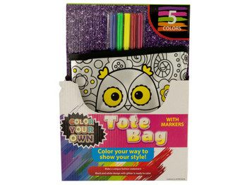 Color Your Own Fashion Tote Bag with Markers (pack of 4)