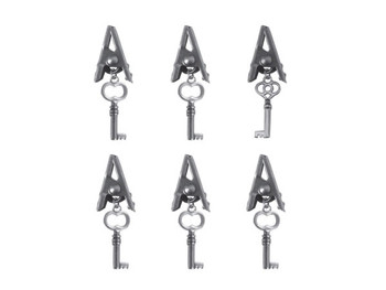 Antique Silver Craft Alligator Clips with Key Charms (pack of 36)