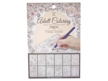 Garden Theme Adult Coloring Notecard Book (pack of 24)