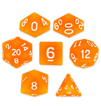 Set of 7 Polyhedral Dice, Forge Embers
