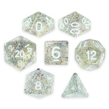 Set of 7 Polyhedral Dice, Sparkle Vomit