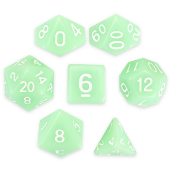 Set of 7 Polyhedral Dice, Ghost Jade