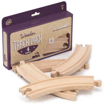 6' Curved Wooden Train Tracks, 4-pack