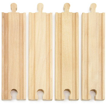 6' Straight Wooden Train Tracks, 4-pack