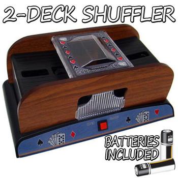 2 Deck Wooden Deluxe Card Shuffler w/ Batteries