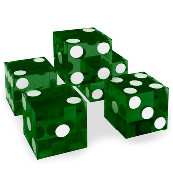 (5) New Green 19mm Grd A Precision Dice w/Matching Serial #s