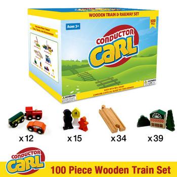 Conductor Carl 100 Piece Wooden Train Set