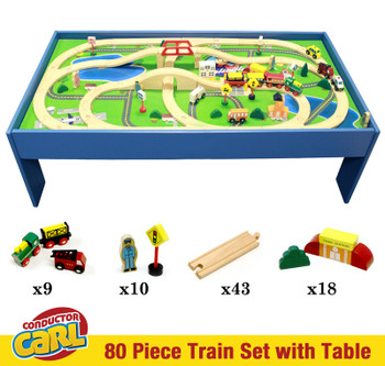Conductor Carl 80 Piece Wooden Train Set with Table