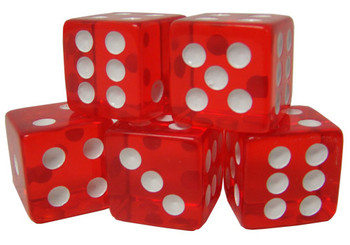 5 Red 16mm Dice with Plastic Cup