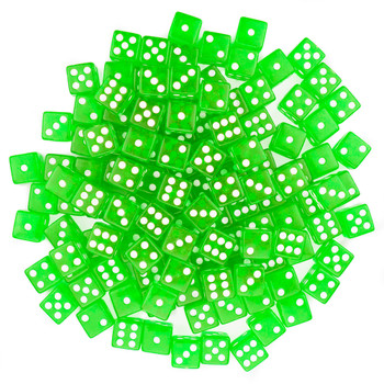 100 Green Dice - 16 mm