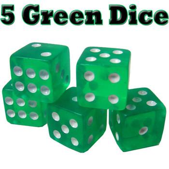 5 Green Dice - 16 mm