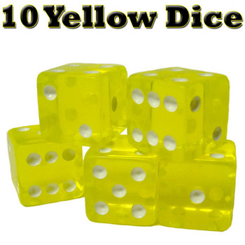 10 Yellow Dice - 16 mm