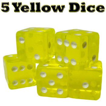 5 Yellow Dice - 16 mm
