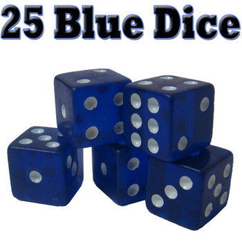 25 Blue Dice - 16 mm