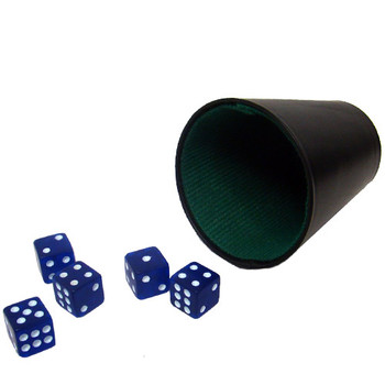 5 Blue 16mm Dice with Plastic Cup