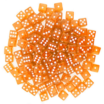 100 Orange Dice - 16 mm