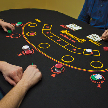 Black Baccarat Casino Table Felt Layout