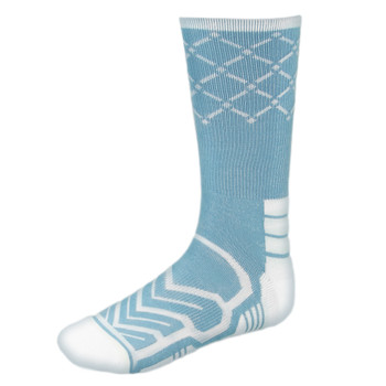 Large Basketball Compression Socks, Light Blue/White