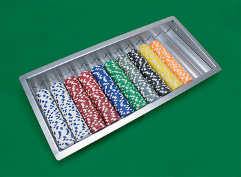 Metal 12 Row Casino Table Chip Tray with Cover and Lock
