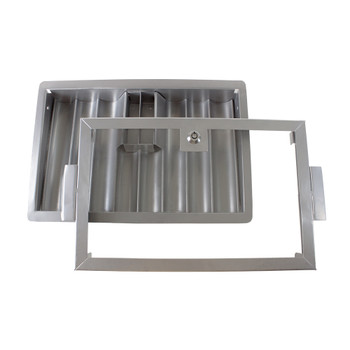 6-Row Metal Poker Dealer Chip Tray with Cover and Lock