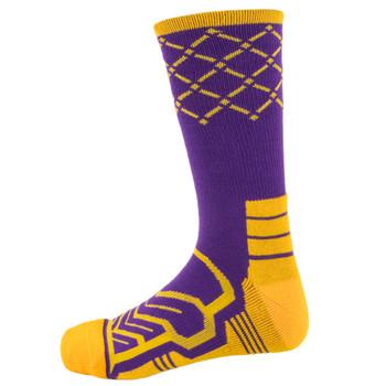 Large Basketball Compression Socks, Purple/Yellow