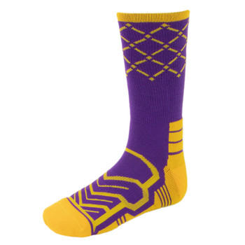 Large Basketball Compression Socks, Purple/Yellow