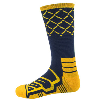 Large Basketball Compression Socks, Navy/Yellow