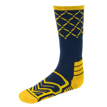 Large Basketball Compression Socks, Navy/Yellow