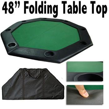 "48"" Green Felt Octagon Folding Table Top w/ Padded Rail"