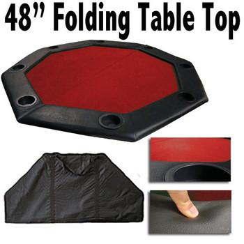 "48"" Red Felt Octagon Folding Table Top w/ Padded Rail"