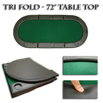 """Green 72""""x32"""" Tri-Fold Poker Table Top With Cup Holders!"""
