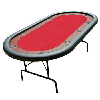 """Red Felt Poker Table With Dark Wooden Race Track 84""""x42"""""""