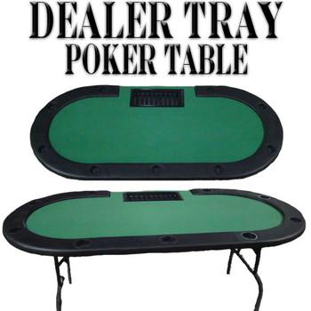 """Green Felt Poker Table W/ Cup Holders & Dealer Tray 82""""x42"""""""