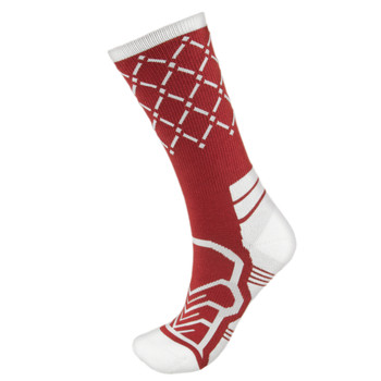 Medium Basketball Compression Socks, Red/White