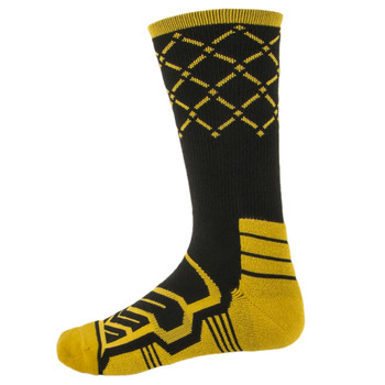 Large Basketball Compression Socks, Black/Yellow