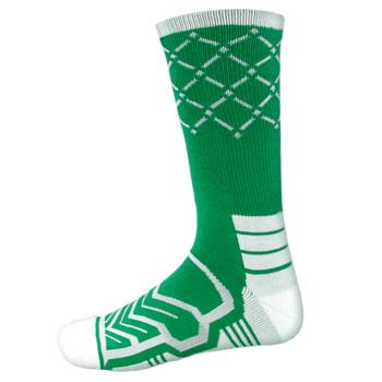 Large Basketball Compression Socks, Green/White