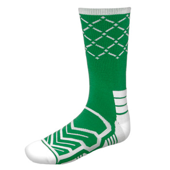 Large Basketball Compression Socks, Green/White