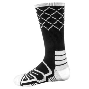 Large Basketball Compression Socks, Black/White