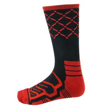 Large Basketball Compression Socks, Black/Red