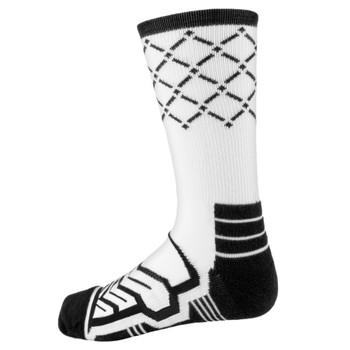 Large Basketball Compression Socks, White/Black