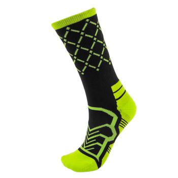 Medium Basketball Compression Socks, Black/Green