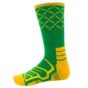 Large Basketball Compression Socks, Green/Yellow