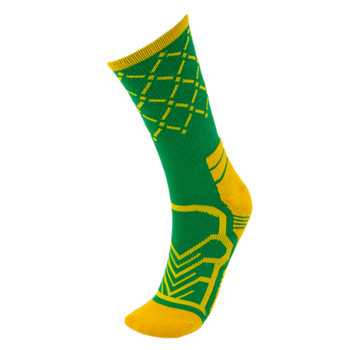 Medium Basketball Compression Sock, Green/Yellow